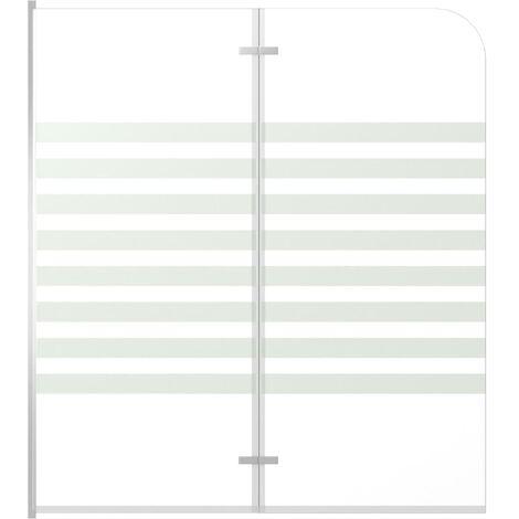 Mampara de ducha de vidrio templado a rayas 120x140 cm