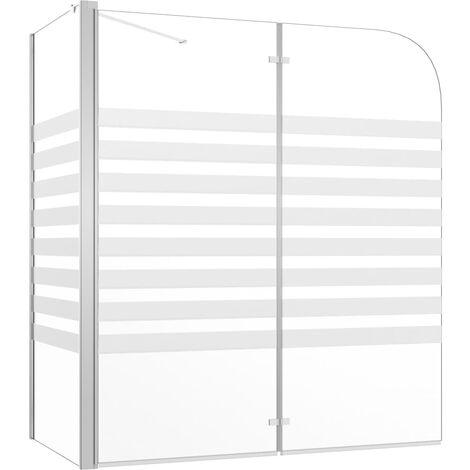 Mampara de ducha de vidrio templado a rayas 120x68x130 cm