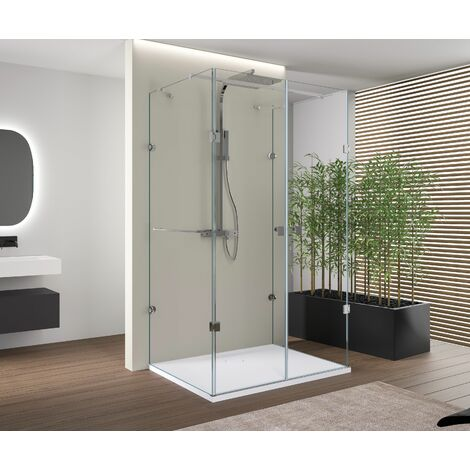 Mampara de ducha DELUXE, en forma de U, centro de pared, NANO EX412, 80 x 80 x 195 cm