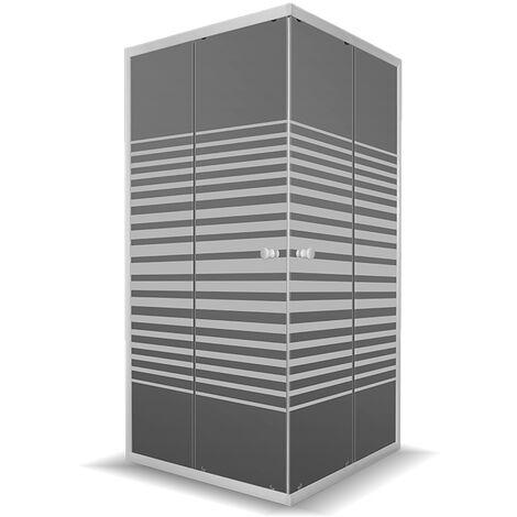 Mampara de ducha DP-3002, serigrafiada. 90 x 90 cm. Cristal 5 mm de grosor