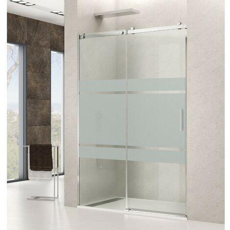 Mampara de ducha en acero ROTARY 1F+1C Decoración: Frost