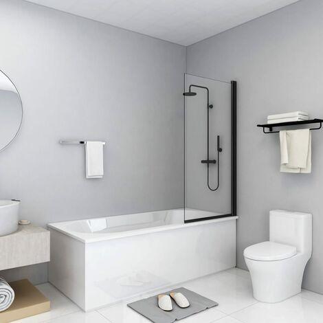 Mampara de ducha ESG negro 68x130 cm