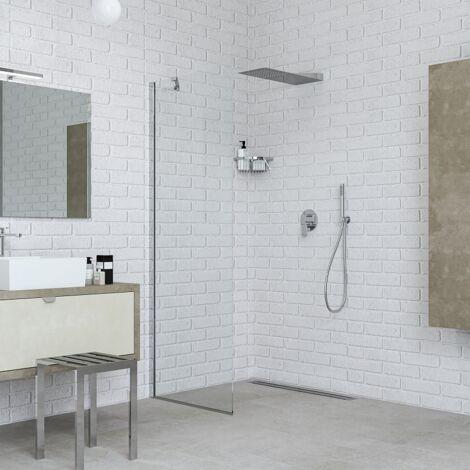 Mampara de ducha fija 70 cm vidrio transparente Ponsi Gold BBGOLTFW70 | 70 cm (68-70)