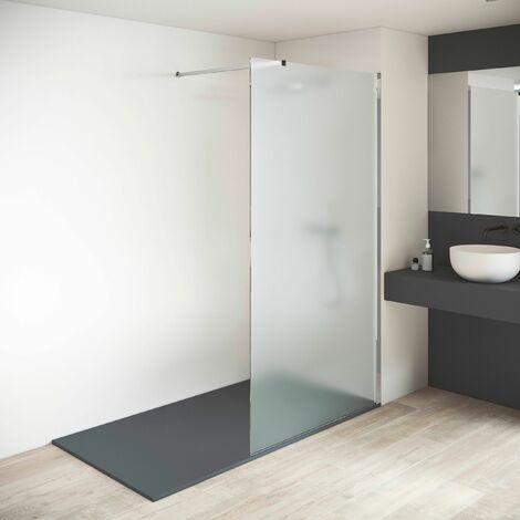 Mampara de ducha fija - Panel fijo - Grosor Vidrio MATE Templado 8mm - Altura 200 cm - Perfil
