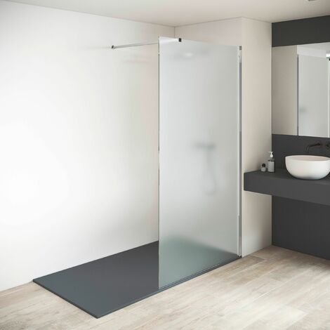 "main image of ""Mampara de ducha fija - Panel fijo - Grosor Vidrio MATE  Templado 8mm - Altura 200 cm - Perfil"""