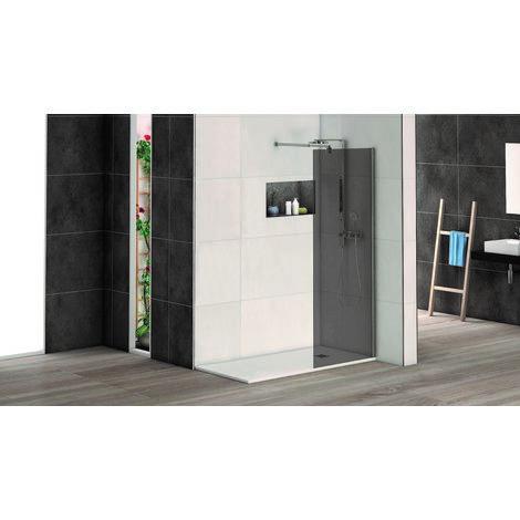 Mampara de ducha fija serie Caribe, con cristal ahumado de 6mm, barra estabilizadora cromada - 80x195 cm