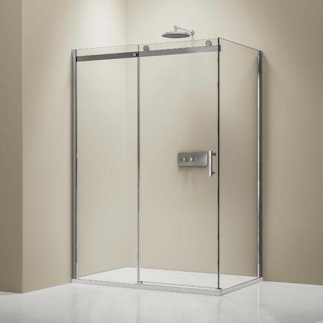 Mampara de ducha fija y puerta corredera EX806, con vidrio de seguridad y tratamiento NANO - 90 x 140 x 195 cm