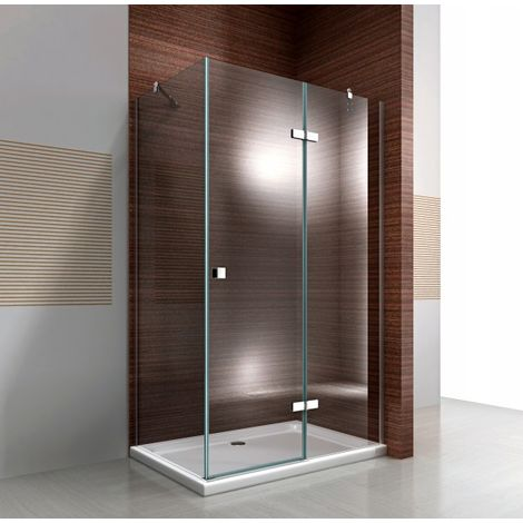Mampara de ducha fija y puerta pivotante de cristal NANO transparente EX403C - 90 x 120 x 190 cm