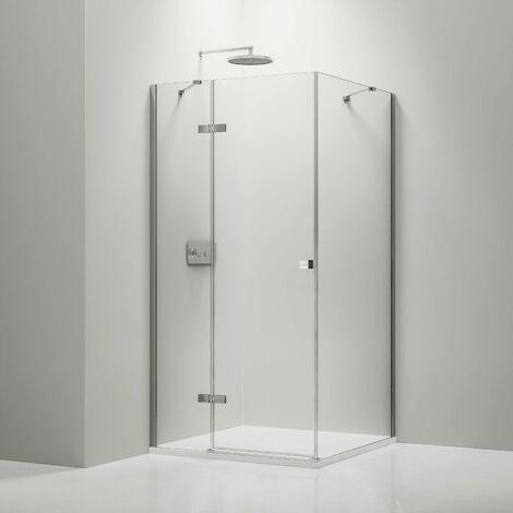 Mampara de ducha fija y puerta pivotante en cristal NANO transparente
