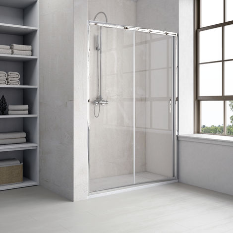Mampara de ducha frontal 1 fijo + 1 puerta corredera 156-160 cm transparente