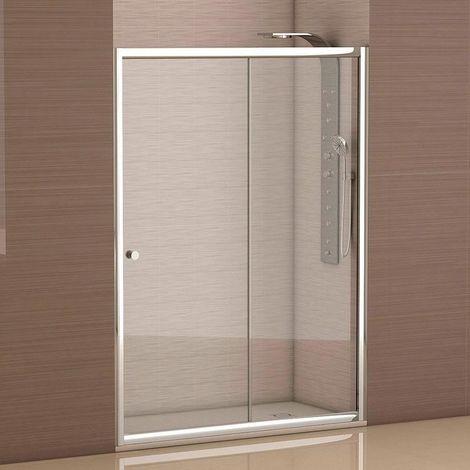 Mampara de ducha frontal 1 hoja fija + 1 hoja corredera con cristal transparente templado de seguridad de 4mm modelo Catalonia ANCHO 120 ( Adaptable 118 a 120cm)