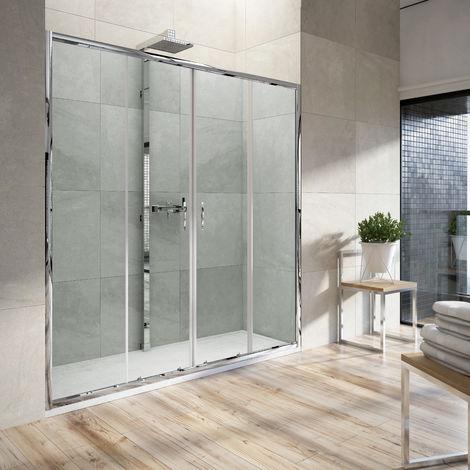 Mampara de ducha frontal 2 fijos + 2 puertas correderas 156-160 cm. transparente