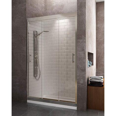 Mampara de ducha frontal con 3 puertas correderas con cristal transparente