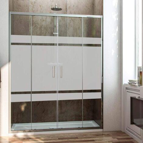 Mampara de ducha frontal con apertura central. 2 hojas fijas con 2 puertas correderas cristal serigrafiado
