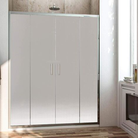 Mampara de ducha frontal con apertura central. 2 hojas fijas con 2 puertas correderas cristal translúcido