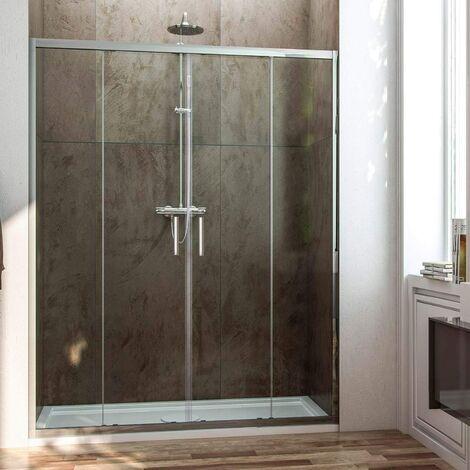 Mampara de ducha frontal con apertura central. 2 hojas fijas con 2 puertas correderas cristal transparente