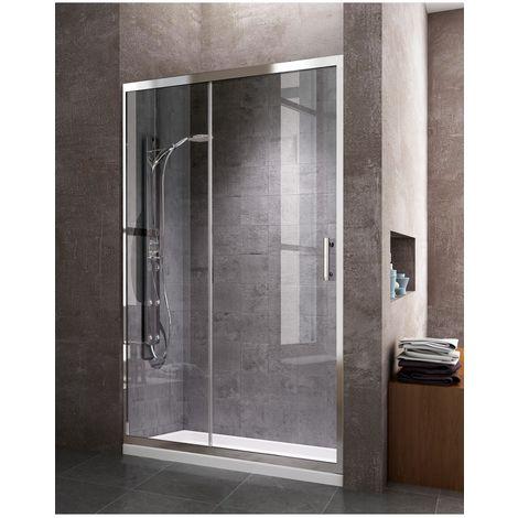 Mampara de ducha frontal con apertura lateral, Una puerta corredera y un lateral fijo, reversible