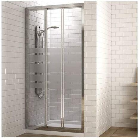 Mampara de ducha frontal con dos puertas correderas y un panel lateral fijo. Reversible. Cristal serigrafiado
