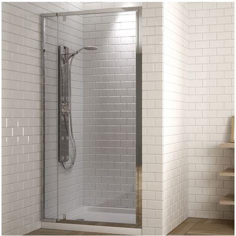 Mampara de ducha frontal con puerta abatible transparente