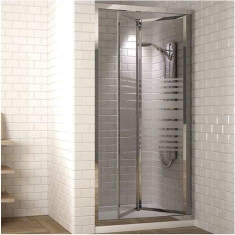 Mampara de ducha frontal con puerta plegable en acordeon y cristal serigrafiado