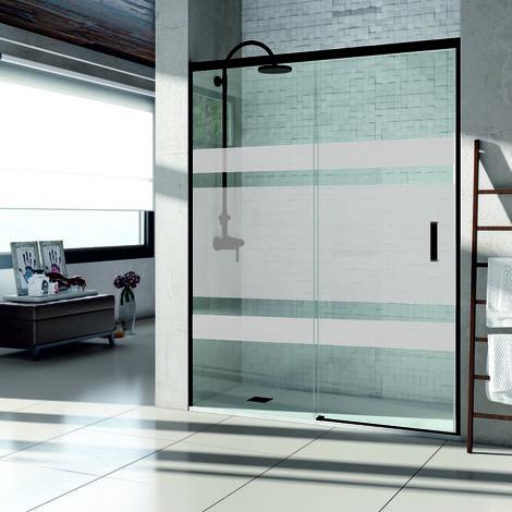 Mampara de Ducha Frontal Corredera  - 1 Fijo + 1 Puerta - Sin perfil - Cristal Templado 6mm - Serigrafía DARO
