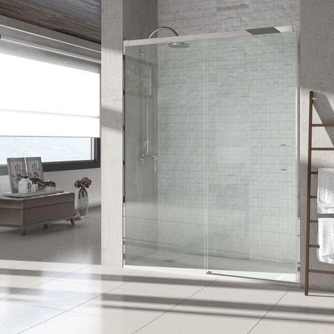 Mampara de Ducha Frontal Corredera - 1 Fijo + 1 Puerta - Sin perfil - Cristal Templado 6mm - Transparente