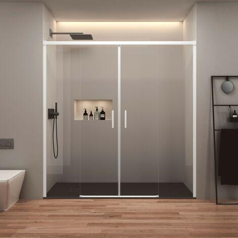 Mampara de Ducha Frontal Corredera - 2 Puertas + 2 Fijos - Sin Perfil Inferior - Cristal Templado 6mm - Serigrafía Vinílica