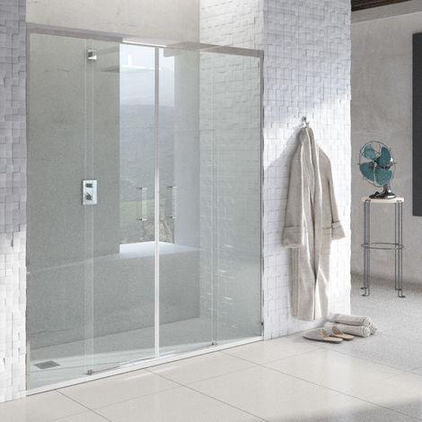 Mampara de Ducha Frontal Corredera - 2 Puertas + 2 Fijos - Sin Perfil Inferior - Cristal Templado 6mm - Transparente - Perfiles Aluminio Cromo