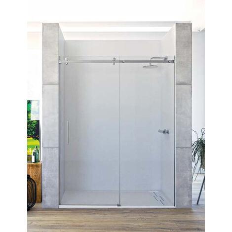 Mampara de ducha frontal de 1 hoja fija y 1 puerta corredera. - ACERO INOXIDABLE - Modelo TEA