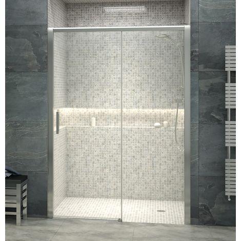Mampara de ducha frontal de 1 hoja fija y 1 puerta corredera - Cristal de Seguridad de 6 mm - Modelo BOSTON