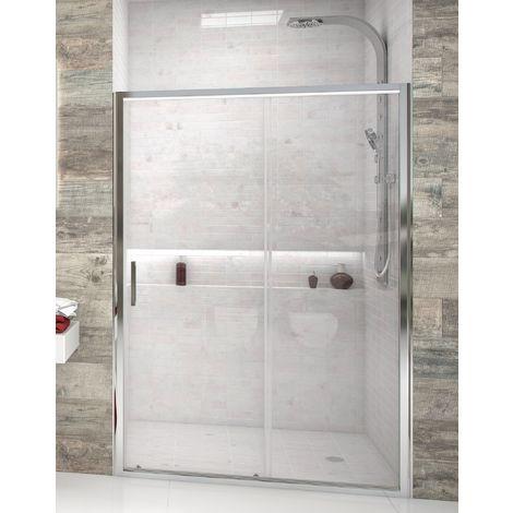 Mampara de ducha frontal de 1 hoja fija y 1 puerta corredera - Cristal de Seguridad de 6 mm - Modelo FRESH 2