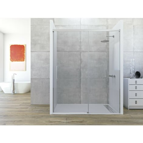 Mampara de ducha frontal de 1 hoja fija y 1 puerta corredera. - Modelo COSMOS