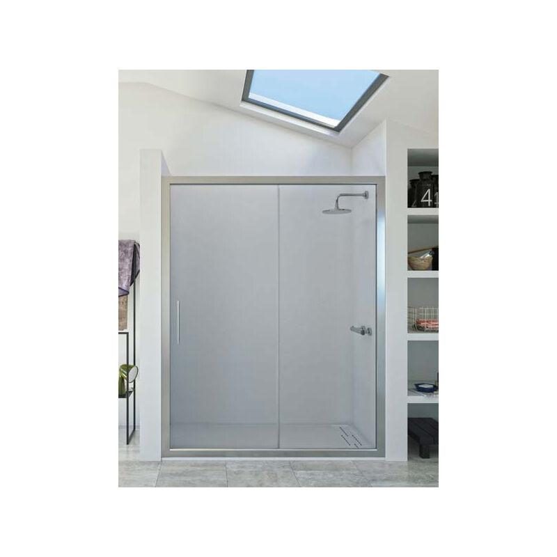 Mampara de ducha frontal de 1 hoja fija y 1 puerta corredera. - Modelo DORA Medida 141-150 - TRANSPARENTE - SEVIBAN