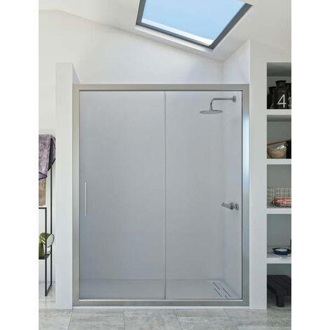 Mampara de ducha frontal de 1 hoja fija y 1 puerta corredera. - Modelo DORA