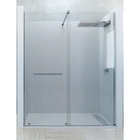 Mampara de ducha frontal de 1 hoja fija y 1 puerta corredera. - Modelo LIZANA
