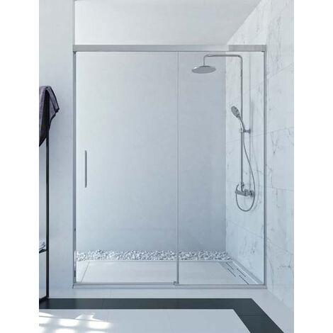 Mampara de ducha frontal de 1 hoja fija y 1 puerta corredera. - Modelo SIA