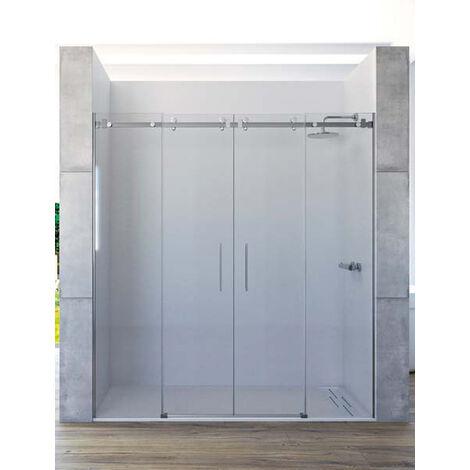 Mampara de ducha frontal de 2 hojas fijas y 2 puertas correderas. - ACERO INOX. - Modelo PIRA