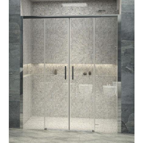 Mampara de ducha frontal de 2 hojas fijas y 2 puertas correderas - Cristal de Seguridad de 6 mm - Modelo CONWAY