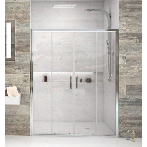 Mampara de ducha frontal de 2 hojas fijas y 2 puertas correderas - Cristal de Seguridad de 6 mm - Modelo FRESH 4