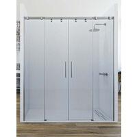 Mampara de ducha frontal de 2 hojas fijas y 2 puertas correderas. - Modelo ARWEN
