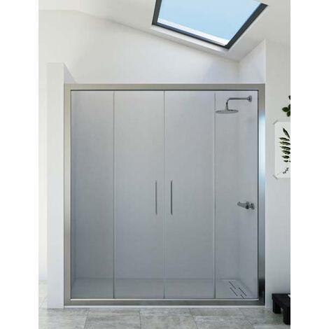 Mampara de ducha frontal de 2 hojas fijas y 2 puertas correderas. - Modelo DENÍS