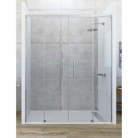 Mampara de ducha frontal de 2 hojas fijas y 2 puertas correderas. - Modelo GALAXIA Medida (151-160) - TRANSPARENTE