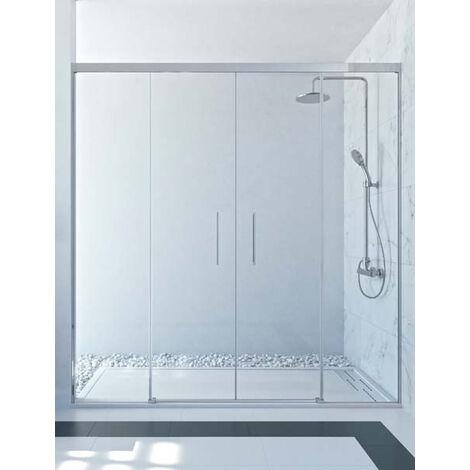 Mampara de ducha frontal de 2 hojas fijas y 2 puertas correderas. - Modelo SAMANI
