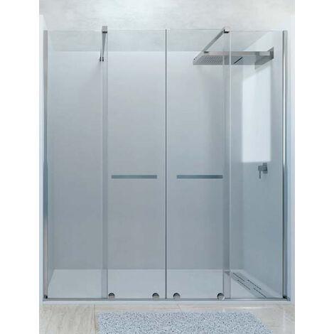 Mampara de ducha frontal de 2 hojas fijas y 2 puertas correderas. - Modelo TILOS