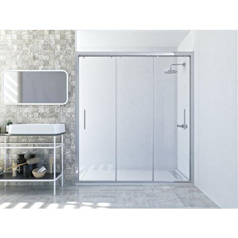 Mampara de ducha frontal de 3 puertas correderas. Modelo Q3HD [Apertura por ambos lados]