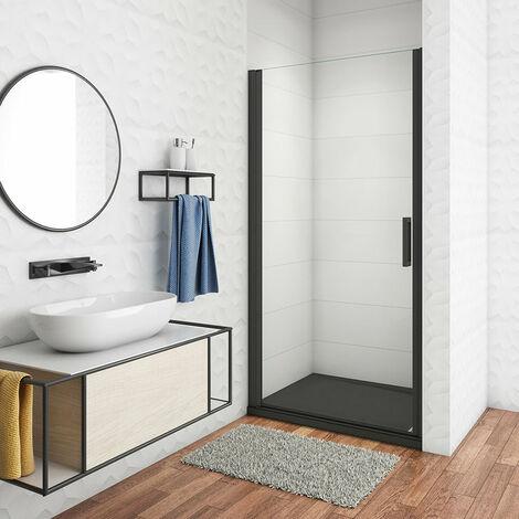 Mampara de ducha Frontal, Mampara abatible, una puerta giratoria, perfiles negros, vidrio de templado seguridad, antical, transparente de 8mm