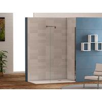 Mampara de ducha frontal panel fijo con cristal transparente templado de seguridad de 6mm modelo Cadiz ANCHO