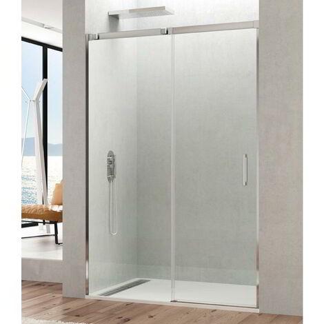 Mampara de ducha frontal TEMPLE fijo + puerta corredera Cristal: Transparente