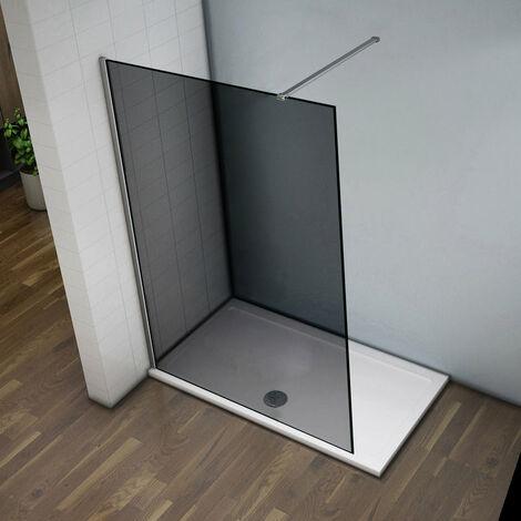 Mampara de Ducha italiana Walk -In, Cristal gris con tratamiento antical con barra de soporte 140 cm 140x200 cm