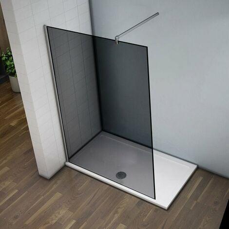 Mampara de Ducha italiana Walk -In, Cristal gris con tratamiento antical con barra2 de soporte 140 cm 120x200 cm